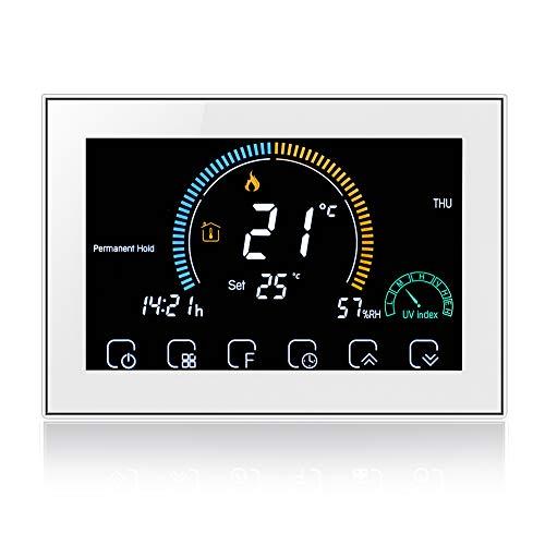 WiFi Smart Thermostat Alexa-Digital Raumkessel Heizung Thermostat Controller Drahtlos, Wandmontage Programmierbarer Temperaturregler, Wetter, UV-Index, Luftfeuchtigkeit Hisplay, 5A