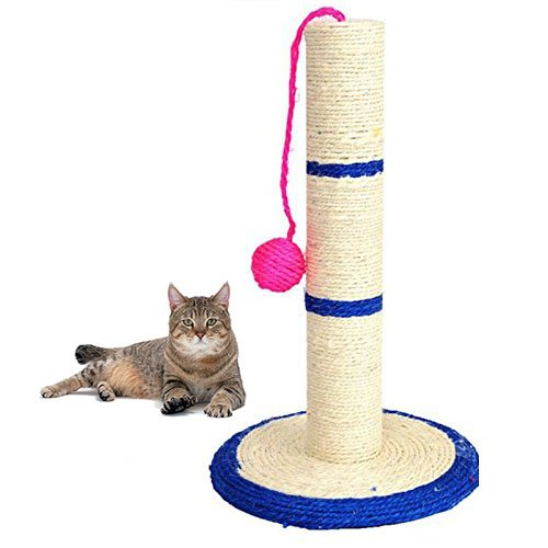 Ducomi® Miao - Columna para Uñas Gatos con Juegos de Pelota Cuerda Sisal Natural (Small)