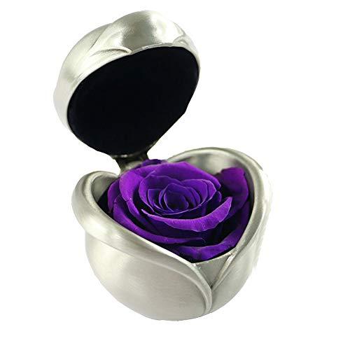 Ewige Rose, konservierte Rose,Nie verwelkte Rosen,Gehobene unsterbliche Blumen,Ewige Rosen Box,mit eleganter Geschenkbox, Geschenk zum Valentinstag Jahrestag Weihnachten Geburtstag(Lila Rose)