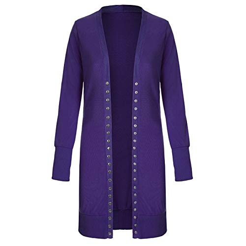 SLYZ Otoño E Invierno Nueva Chaqueta De Punto para Mujer De Gran Tamaño, Botón De Longitud Media, Suéter Rompevientos De Color Sólido