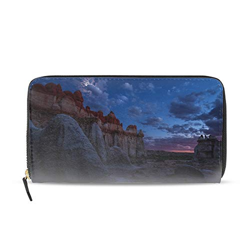 Zip Around Women Organizer Wallet PU Clutch Long Purse, Earth Blue Canyons Sky Twilight Cloud Moon