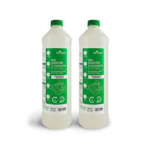 Bio-Chem Sanitärzusatz/Bio Sanitärflüssigkeit für Campingtoilette 2X 1 L Konzentrat für Camping-Toilette, Chemietoilette sowie Mobile Toilette