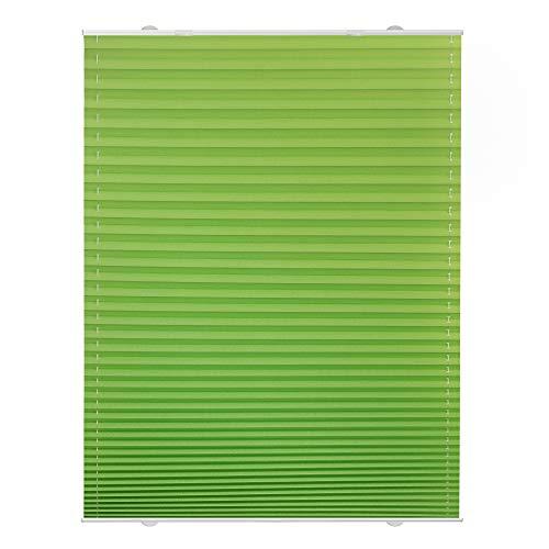 Lichtblick Plissee Haftfix, 60 x 130 cm (B x L) in Grün, ohne Bohren, moderner Sicht-, Blend- und Sonnenschutz in Crush-Optik, lichtdurchlässig & Blickdicht