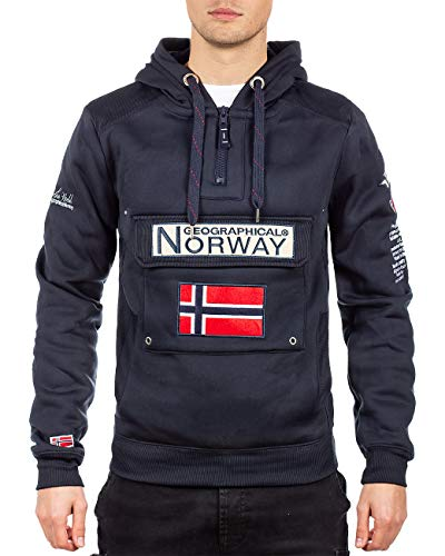 Geographical Norway Sudadera con capucha para hombre azul marino L