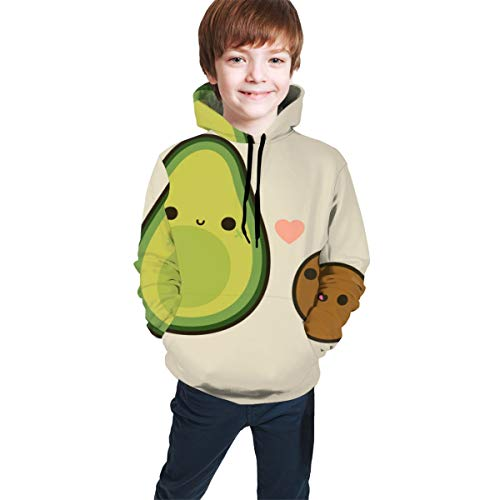 Casual Pullover Sweatshirt for Teen Girls Boys, Cute Avocado Hoodie with Pocket Fitted Tops for Training, Gym, Date