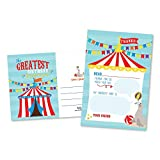25 Carnival Fill In The Blank Kids Thank You Cards, Circus Elephant Themed Vintage Striped Bday Party Notes, Adult or Children Birthday, Lion Supplies, Carousel Ticket Ideas