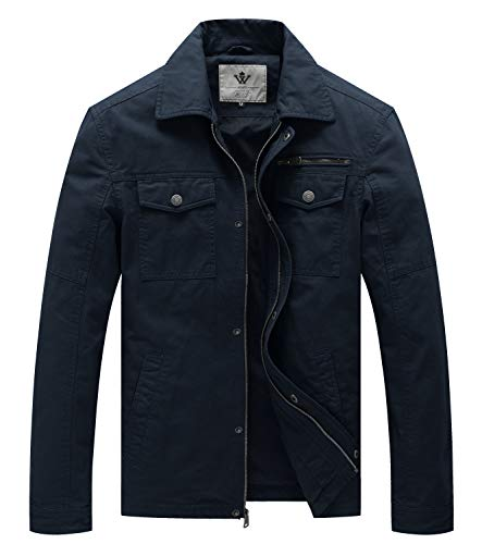 WenVen Giacca Militare in Cotone Giubbotto Bavero con Zip Antivento Cappotto Leggero Mezza Stagione Giaccone Tempo Libero Uomo Blu Scuro L