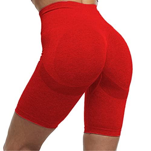 SotRong Pantalones cortos de yoga para levantamiento de glúteos, sin costuras, para correr, cintura alta, entrenamiento