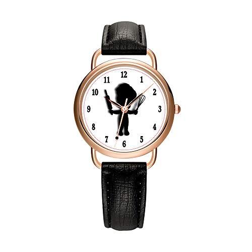 Reloj de pulsera de cuarzo para mujer, de lujo, color blanco y negro, correa de cuero, dorado, reloj de pulsera de cuarzo para mujer, reloj de regalo, Negro