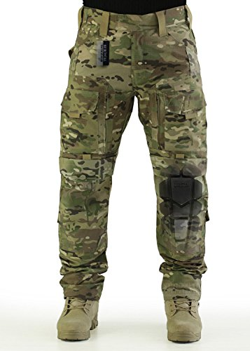 ZAPT Breathable Ripstop Fabric Pants Military Combat Multi-Pocket Molle Tactical Pants with EVA Knee Pads (Multicam, L)