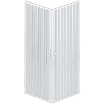 Rollplast BLUN2CONCC28080080 - Mampara para ducha, PVC, 80 x 80 x 185 cm, 2 puertas laterales, color blanco: Amazon.es: Bricolaje y herramientas