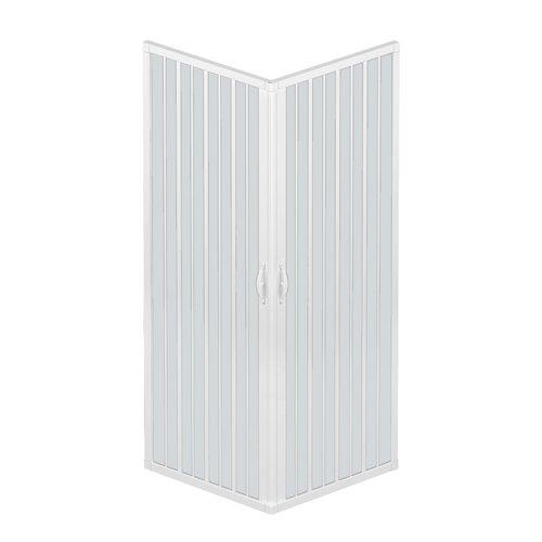 Rollplast BLUN2CONCC28080080 Duschkabinenwand, Größe: 80 x 80 x H 185cm, aus PVC, Eck-Öffnung, 2 seitliche Türen, Weiß