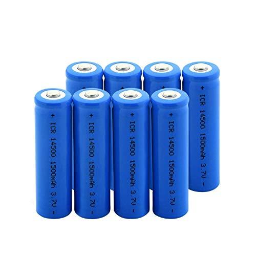RitzyRose ICR 14500 - Batería de iones de litio superior apuntada de 3,7 V, 1500 mAh, 8 unidades