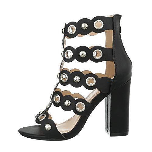 Ital Design Damenschuhe Sandalen & Sandaletten High Heel Sandaletten Synthetik Schwarz Gr. 37