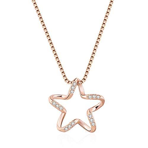 QWJ Collar con colgante de estrella de cinco puntas de oro rosa