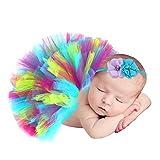 Hifot Recién Nacido Bebé Niña Falda de Tul + Cinta de Pelo de Flores Accesorios de Fotografía Prop Trajes Ropa para Fiestas Cumpleaños Boda