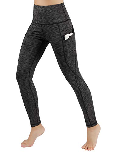 ODODOS Women's High Waist Yoga Pants with Pockets,Tummy Control,Workout Pants Running 4 Way Stretch Yoga Leggings with Pockets,SpaceDyeCharcoal,X-Large