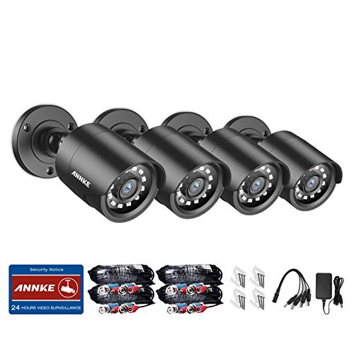 ANNKE Kit de Seguridad 1080P HD TVI 4 Cámaras Bala de Vigilancia,Cámara CCTV de Vigilancia para El Hogar IR-Cut,Visión Nocturna,IP66 Impermeable Interior/Exterio