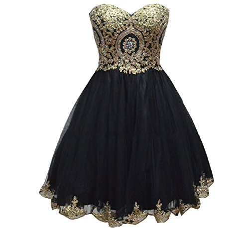 Lemai Tulle Little Black Short Gold Lace Corset Prom Homecoming Cocktail Dresses US 2