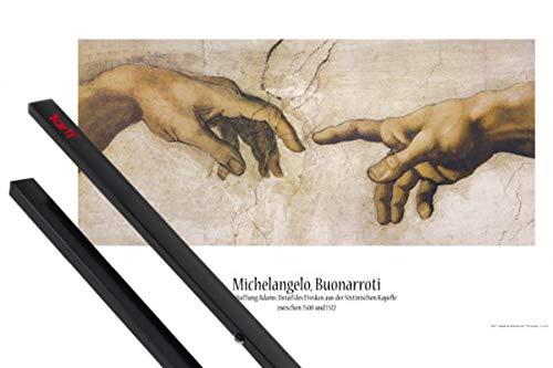 1art1 Michelangelo Buonarroti Poster (91x61 cm) Die Erschaffung Adams, Detail, 1508-1512 Inklusive EIN Paar Posterleisten, Schwarz