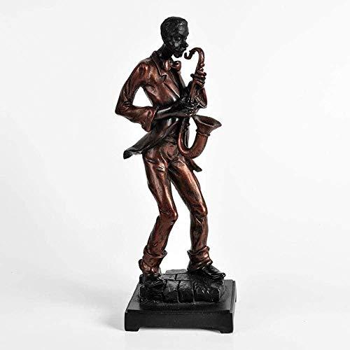 HyaoZbj Decoración Escultura,Estilo Músicos De Resina Gente Negra Saxofón Figura Figura Escultura Adornos Coleccionables Estatuillas De Escritorio para Interiores