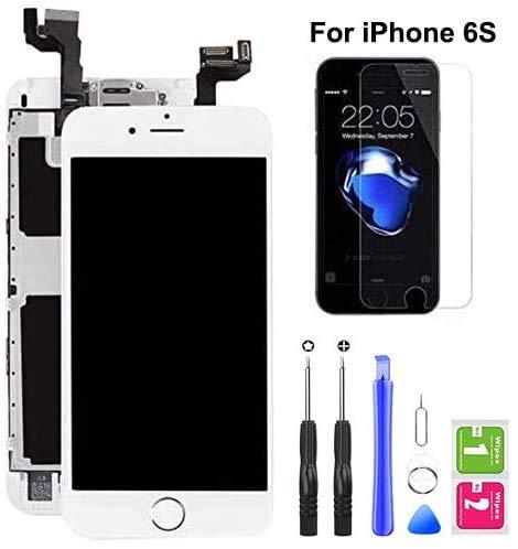 Hoonyer Für iPhone 6s Display ersatzbildschirm LCD Touchscreen Display vorinstallierte frontkamera näherungssensor Reparatur kit komplette ersatzbildschirm mit Werkzeug (Weiß)
