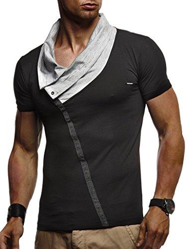 Leif Nelson Herren Sommer T-Shirt Stehkragen Slim Fit Casual Baumwolle-Anteil Cooles weißes schwarzes Männer Kurzarm-T-Shirt Hoodie-Sweatshirt-Longsleeve lang LN1020 Schwarz Medium