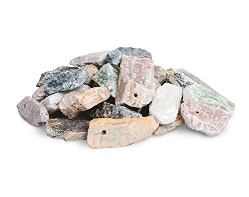 Honsell 79242 - Speckstein Amulett-Rohlinge, 30 Anhänger im Set, mit 3 mm Loch, sortiert in verschiedenen Größen (ca. 3 - 4 cm groß) in Grau-, Braun- und Grüntönen