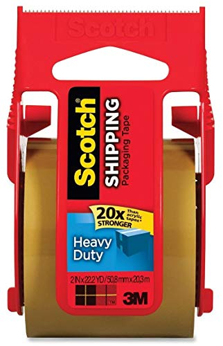 Scotch Heavy Duty Shipping Packaging Tape, 1.88 Inch x 800 Inch, [Tan] (Pack of 6)