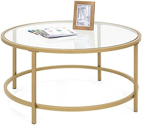 Best Best Choice Products 36in Round Tempered Glass Coffee Table w/Satin Gold Trim for Home, Living Room,
