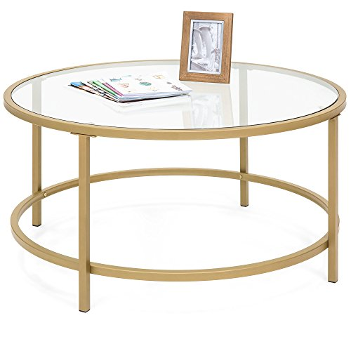 Best Choice Products 36in Round Tempered Glass Coffee Table w/Satin Gold Trim for Home, Living Room, Dining Room