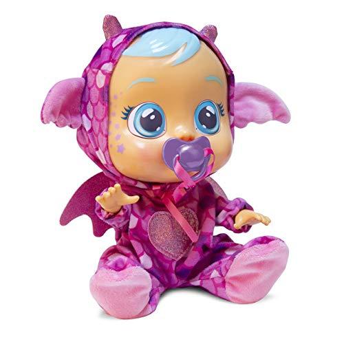 Bebés Llorones Fantasy Bruny - Muñeca interactiva que llora de verdad con chupete y pijama de Dragón