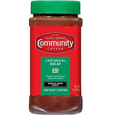 Community Coffee Café Special Decaf Medium Dark Roast Premium Instant 7 Oz Jar (4 Pack), Full Body Rich Flavorful Taste, 100% Select Arabica Coffee Beans