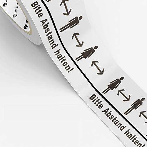 Warnband Bodenklebeband - Bitte Abstand halten! 66m Rolle Premium Klebeband selbstklebend & bodenklebend | 50mm breites Warnklebeband Absperrband für Fuss-Boden Tische Glas