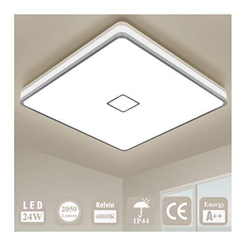 Deckenlampe LED Deckenleuchte Badezimmer Lampe Öuesen 24W 2050LM IP44 Wasserdicht 4000K Neutralweiß Modern Led Leuchte Quadrat Lampe Decke für Schlafzimmer Bad Küche Esszimmer Wohnzimmer Balkon Flur