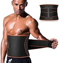 VOHUKO Sauna Waist Trimmer, Wide Men Waist Trainer, Sweat AB Belt with Adjustable Pressure Straps, Weight Loss Back Support Neoprene Motion Splicing Belt (L 32-41 inch) Black