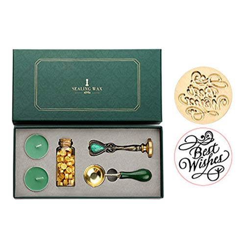rigensei Vintage Detachable Spoon Stamp Set Box with Sealing Wax Beads Candle (1)