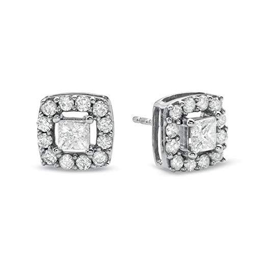 Pendientes de tuerca para mujer y niñas de 1 quilates con montura de diamante transparente D/VVS1 de corte princesa en plata de ley 925 chapada en oro blanco de 10 quilates