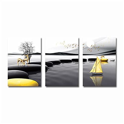 Impresión de Lienzo 30x40 cm 3 Piezas sin Marco Abstracto Negro Amarillo Ciervo Barco Piedra Cartel Paisaje Pared Arte impresión Lienzo Pintura Cuadros para Sala de Estar decoración del hogar