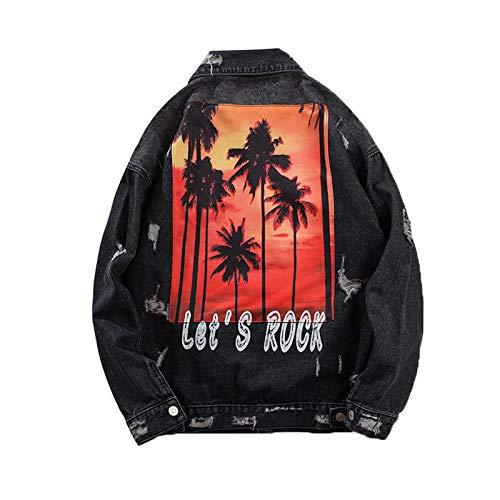 Chaqueta de mezclilla suelta con estampado de palmas de coco para hombre Streetwear Hip Hop Punk agujeros desgastado Denim Coat