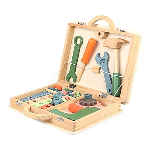 Colcolo Caja de Herramientas de Madera para Niños, Regalos para Juegos de Simulación