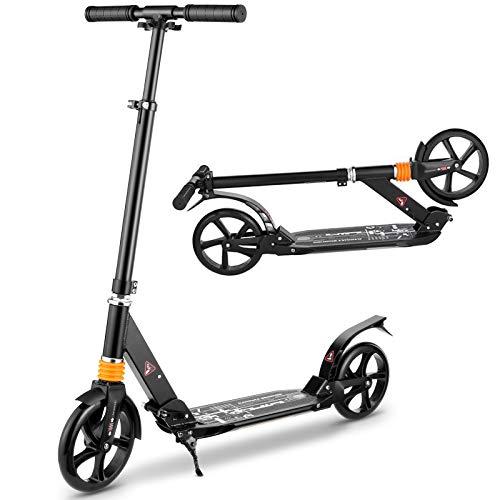 CAROMA Scooter Kinder Über 8 Jahre Kickscooter Roller mit 3 Sekunden einfachem Klappsystem und Big Wheel, Tragkraft 220 Lb (Black)