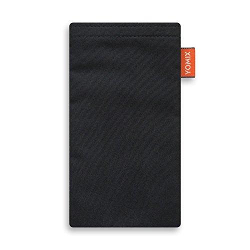 YOMIX VIIVI Schwarz Handytasche Tasche für Motorola Moto X Force aus Microfaser mit Microfaserinnenfutter | Hülle mit Reinigungsfunktion | Made in Germany