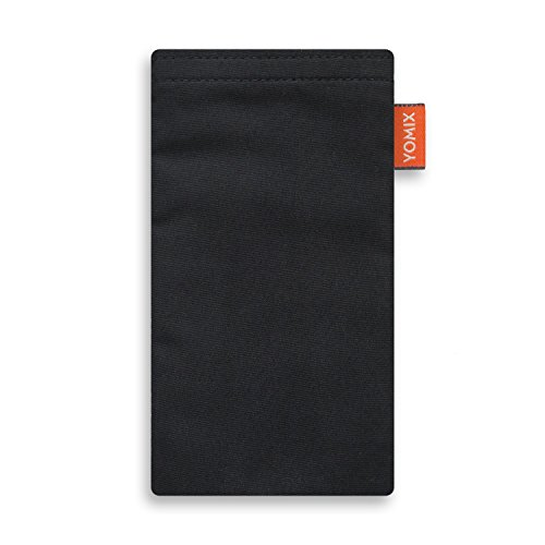 YOMIX Handytasche | Tasche | Hülle VIIVI schwarz für bq Aquaris X2 Pro aus Microfaser mit genialer Bildschirm-Reinigungsfunktion durch Microfaserinnenfutter