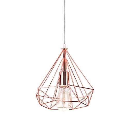 iDEGU - Lampadario moderno a gabbia E27, lampadario industriale, in metallo, illuminazione da soffitto, creativa, a forma di diamante, retrò, per soggiorno, camera, sala da pranzo, 25 cm, oro rosa