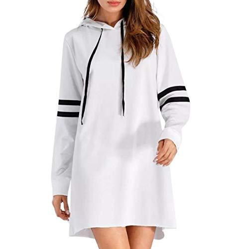 NPRADLA 2018 Herbst Damen Hoodie Langarm Lange Sweatshirt Jumper Pullover Kleid (S/44, Weiß)