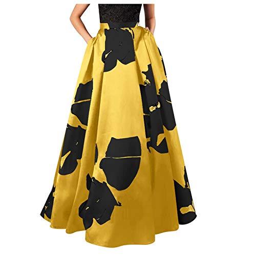 URIBAKY - Vestido de noche para mujer, bohemio, estampado floral con falda de cintura alta, vestido de fiesta, vestido de fiesta, vestido de noche, sexy, elegante A amarilla. S