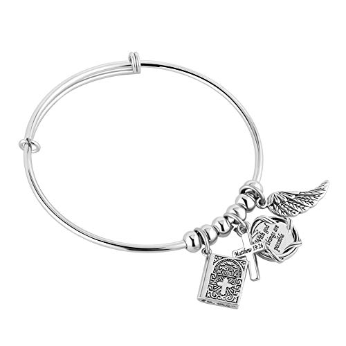 UNIQUEEN Bible Religious Adjustable Bangle Charm Bracelet for Women Men (with God All Things are Possible Matthew 19:26)