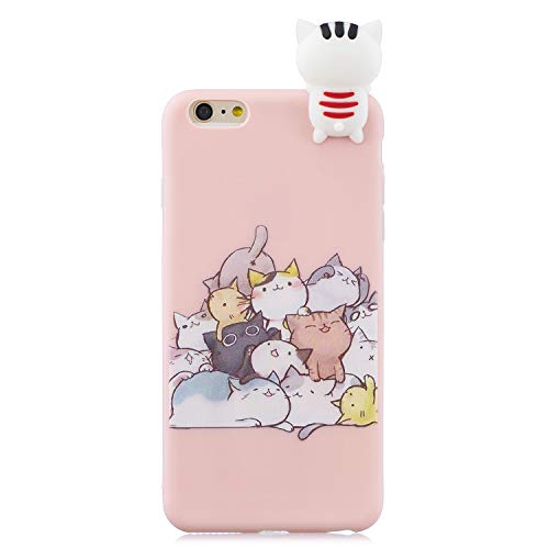 Nodigo Funda Compatible con iPhone 6s Plus/iPhone 6 Plus Silicona 3D Animal Dibujos Motivo Creativo Ultrafina Carcasa Case Antigolpes TPU Bumper Kawaii Resistente Cover - Gato