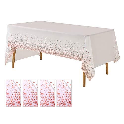 HETOOSHI Einweg-Tischdecken Tischdecken Party Umweltfreundliche Plastiktischdecken Dot Confetti Tischdecken für Partys im Innen- oder Außenbereich Geburtstage Hochzeiten Weihnachten (Roségold)